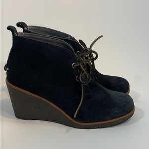 Sperry Top Sider Harlow wedge suede size 6 navy